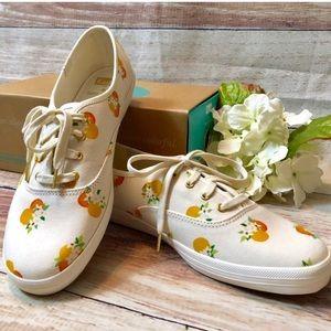 Kate Spade Keds peach orange blossom sneakers